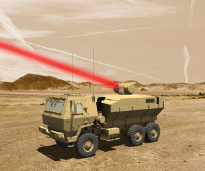 An illustration of a laser mounted aboard an experimental laser test truck.