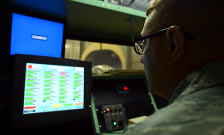 A U.S. Airman views a computer screen at a test cell facility at Shaw Air Force Base, S.C., March 3, 2017.
