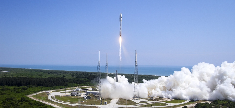 An Atlas V rocket, powered by the Russian-built RD-180 engine, lifts off from Cape Canaveral Air Force Station, Fla., on May 20, 2015.