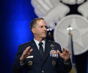 "Air Force Chief of Staff Gen. Dave Goldfein gives his first ""Air Force Update,"" during the Air Force Association's Air, Space and Cyber Conference in National Harbor, Md., Sept. 20, 2016."