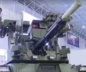 "n armed ground tank robot called the Vikhr, or ""Whirlwind,"" on display at the 2nd annual Military & Scientific Robotic Conference at Patriot Center in Moscow."