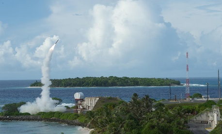 The second of two Terminal High Altitude Area Defense (THAAD) interceptors is launched during a successful intercept test.