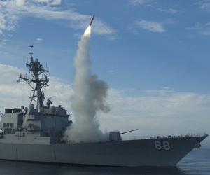 Here's what a Tomahawk missile launch looks like. The guided-missile destroyer USS Sterett (DDG 104) successfully launches its second Tomahawk missile during weapons testing.