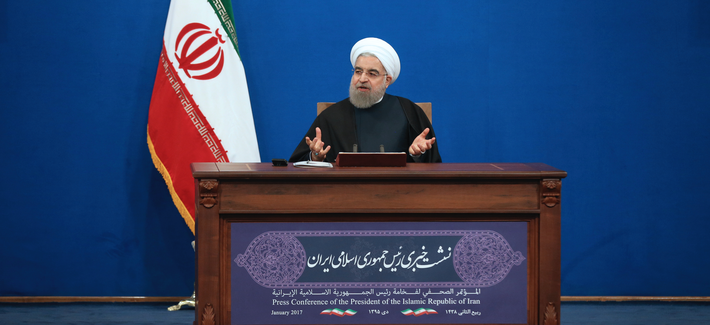 Iranian President Hassan Rouhani speaks in a press conference at the presidency compound in Tehran, Iran, Tuesday, Jan. 17, 2017.