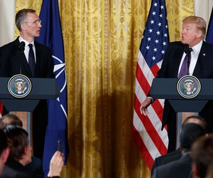 President Donald Trump and NATO Secretary General Jens Stoltenberg spoke at a joint news conference in the East Room of the White House Wednesday.