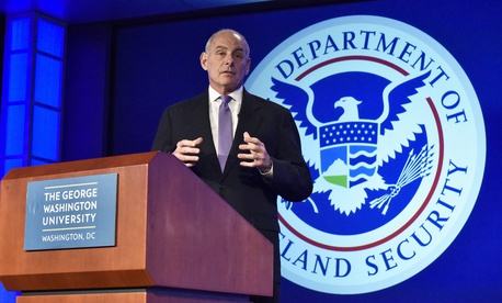 Secretary of Homeland Security John Kelly speaks at George Washington University's Center for Cyber and Homeland Security in Washington, D.C., April 17, 2017.