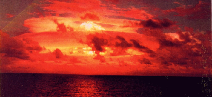 A U.S. nuclear bomb test in 1952, codenamed Operation Ivy, seen from a distance.