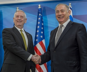 U.S. Defense Secretary Jim Mattis meets with Israel's Prime Minister Benjamin Netanyahu in Jerusalem on April 21.
