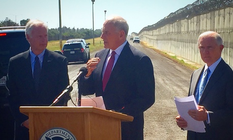 From left to right, Sen. Ron Johnson, R- Wisc, DHS head John Kelly, U.S. Attorney General Jeff Sessions, at a U.S. Customs and Border Patrol Station near San Diego, CA.