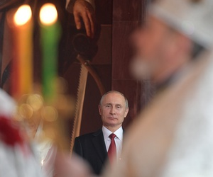 Russian President Vladimir Putin attends the Easter service in Christ the Savior Cathedral in Moscow, Russia, early Sunday, April 16, 2017.