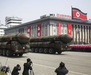 North Korea parades missiles across Kim Il Sung Square during a military parade to celebrate the 105th birth anniversary of Kim Il Sung in Pyongyang in April.