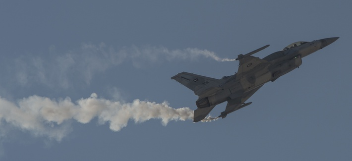 An F-16 Desert Falcon from the United Arab Emirates Air Force performs at the Bahrain International Airshow at Sakhir Airbase in Manama, Bahrain, Jan. 21, 2016.
