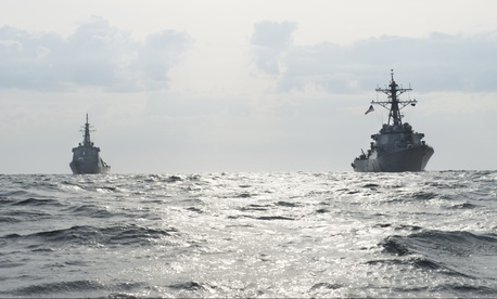 The Arleigh Burke-class guided-missile destroyer USS Fitzgerald (DDG 62) conducts a bilateral training exercise with the Japanese Maritime Self-Defense Force Kongou class guided-missile destroyer JS Choukai (DDG 176), April 25, 2017.
