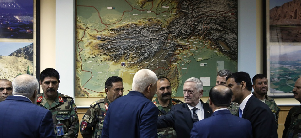 Defense Secretary James Mattis, right center, consoles outgoing Afghanistan Defense Minister Abdullah Habibi the day he resigned, at Resolute Support headquarters, Kabul, Apr 24, 2017.
