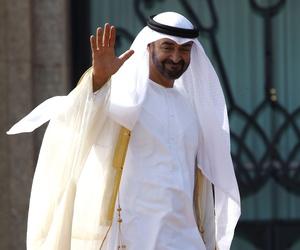 Abu Dhabi's Crown Prince Sheik Mohammed bin Zayed Al Nahyan waves hello.