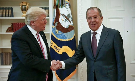 US President Donald Trump shakes hands with Russian Foreign Minister Sergey Lavrov in the White House in Washington, Wednesday, May 10, 2017.
