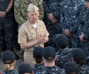 Chief of Naval Operations Adm. John Richardson holds an all-hands call aboard the littoral combat ship USS Coronado (LCS 4), pierside in Singapore on May 16, 2017.