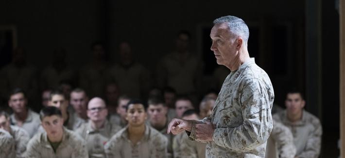 Joint Chiefs chairman Gen. Joseph Dunford addresses troops in Taqaddum, Iraq, in November 2016.