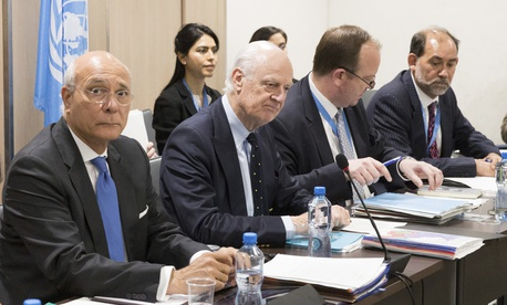 UN Special Envoy for Syria Staffan de Mistura, second from left, and other diplomats attended peace talks in Geneva, Switzerland, in March 2017.