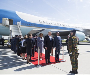 President Donald Trump and First Lady Melania Trump are welcomed by Belgium Prime Minister Charles Michel, and his wife, Amélie Derbaudrenghien, on their arrival to Brussels International Airport in Brussels, Belgium.