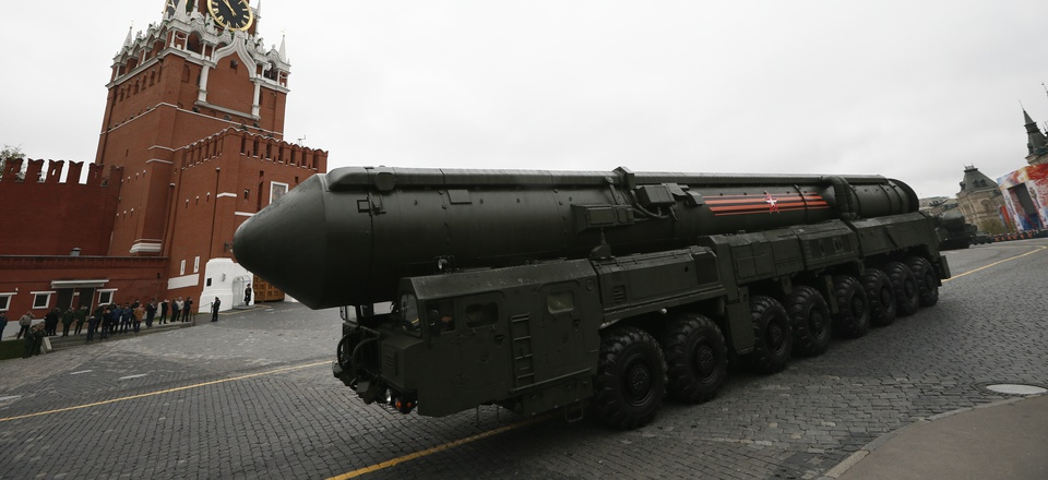 ussian Topol M intercontinental ballistic missile launcher rolls along Red Square during the Victory Day military parade to celebrate 72 years since the end of WWII and the defeat of Nazi Germany, in Moscow, Russia, on Tuesday, May 9, 2017.