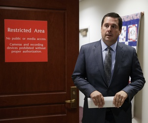 House Intelligence Committee Chairman Devin Nunes leaves a secure area in the Capitol.