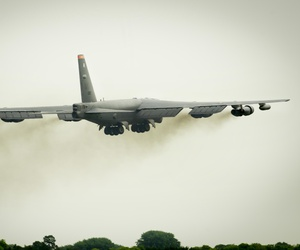 B-52H Stratofortress from Minot Air Force Base, N.D., takes off from Royal Air Force Fairford, United Kingdom, June 7, 2016.