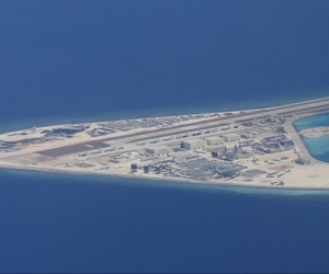 An airstrip, structures and buildings on China's manmade Subi Reef in the Spratly chain of islands in the South China Sea in April 2017.