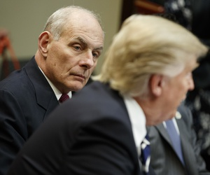 Homeland Security Secretary John Kelly as he listens at right as President Donald Trump speaks during a meeting on cyber security in the Roosevelt Room of the White House in Washington D.C, January 31st, 2017.