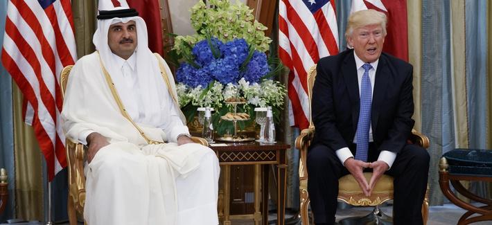 In this May 21, 2017, file photo, President Donald Trump, right, holds a bilateral meeting with Qatar's Emir Sheikh Tamim Bin Hamad Al-Thani, in Riyadh, Saudi Arabia.