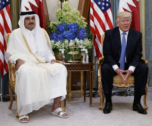 In this May 21, 2017, file photo, President Donald Trump, right, holds a bilateral meeting with Qatar's Emir Sheikh Tamim Bin Hamad Al-Thani, in Riyadh, Saudi Arabia.