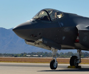 An F-35A Lightning II on static display at Luke AFB, Arizona, in April 2016.