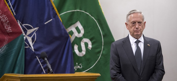 Defense Sec. Jim Mattis on his first visit in office to Resolute Support headquarters in Kabul, Afghanistan, April 24, 2017.