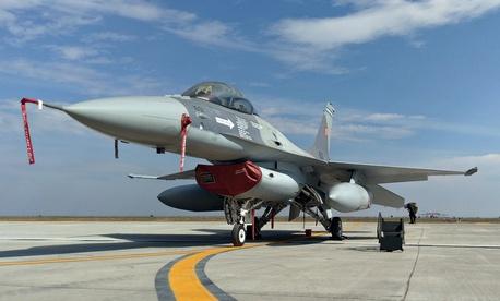 A Romanian Air Force F-16 at Fetesti Air Base, Romania, in October 2016.