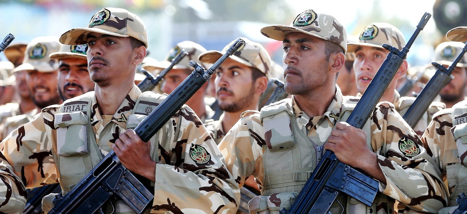 Iranian armed forces members march in a military parade marking the 36th anniversary of Iraq's 1980 invasion of Iran, in front of the shrine of late revolutionary founder Ayatollah Khomeini, just outside Tehran, Iran, Wednesday, Sept. 21, 2016.