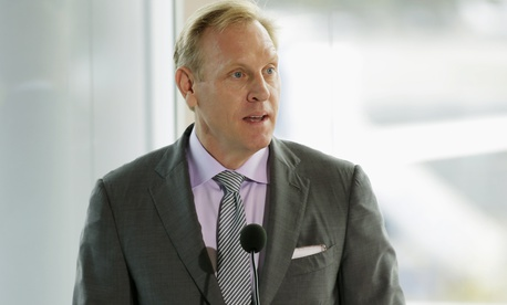 In this Oct. 19, 2015 file photo, Pat Shanahan, senior vice president of Airplane Programs for Boeing Commercial Airplanes, speaks at Boeing Field in Seattle.