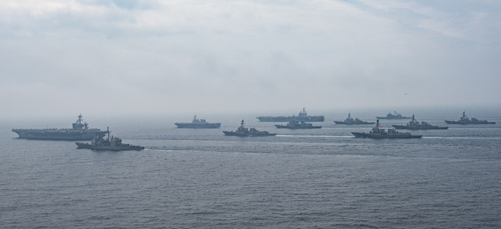 The Carl Vinson and Ronald Reagan strike groups operate with Japanese Ships (JS) Hyuga (DDH 181) and JS Ashigara (DDG 178) in the Sea of Japan, June 1, 2017.