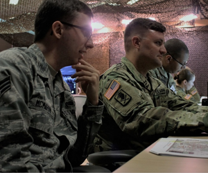 U.S. Air National Guard Senior Airman Benjamin McMahon, currently assigned to the 112th Cyber Operations Squadron, out of Hirsham, Pennsylvania, and Sgt. 1st Class Matthew R. Wagner, a senior information systems analyst with the North East Cyber Protectio