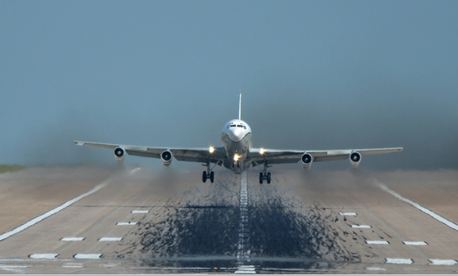 An OC-135B Open Skies aircraft takes flight on Aug. 13, at Offutt AFB, Neb.