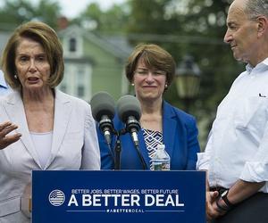 House Minority Leader Nancy Pelosi of Calif., joined by, from left, Rep. Hakeem Jeffries, D-N.Y., Sen. Amy Klobuchar, D-Minn. and Senate Minority Leader Chuck Schumer, N.Y. speaks in Berryville, Va., July 24, 2017, to unveil the Democrats new agenda.