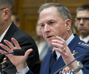 Air Force Chief of Staff Gen. David L. Goldfein testifies on Capitol Hill in Washington, Wednesday, April 5, 2017, before the House Armed Services Committee hearing.