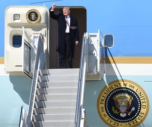 Trump exits Air Force One in March.
