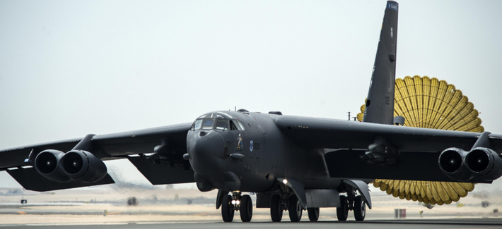 A U.S. Air Force B-52 Stratofortress arrives at Al Udeid Air Base, Qatar, April 9, 2016, for Operation Inherent Resolve.