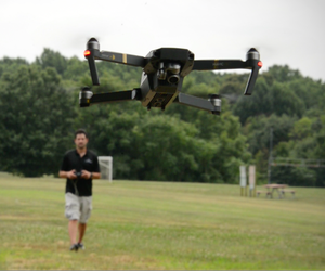 Brett Velicovich, former U.S. Army intelligence soldier who now runs the business Expert Drones, flies a DJI Mavic Pro in northern Virginia, July 22, 2017.