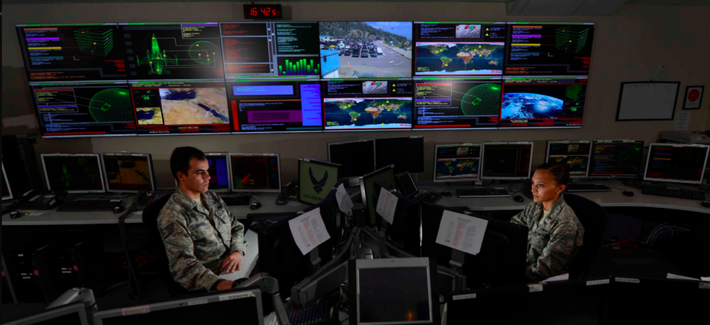 taff Sgt. Alex Garviria and 2nd Lt. Rachel James work in the Global Strategic Warning and Space Surveillance System Center Sept. 2, 2014, at Cheyenne Mountain Air Force Station, Colo.