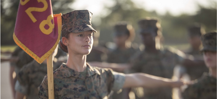 U.S. Marine Corps Rct. Rihanna N. Shihadeh, Platoon 4028, Papa Company, 4th Recruit Training Battalion, does a close-order drill movement during an evaluation Aug. 2, 2017, on Parris Island, S.C.