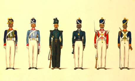 Uniforms of the Madras Army, part of the military forces of the British East India Company, which contractor Erik Prince has suggested as a model for a mercenary takeover of the U.S. war in Afghanistan