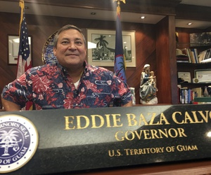 Guam Gov. Guam Eddie Baza Calvo speaks to the media in his office in Adelup, Guam, Friday, Aug. 11, 2017.