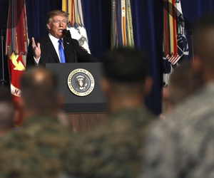 President Donald Trump speaks at Fort Myer in Arlington Va., Monday, Aug. 21, 2017.