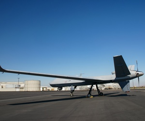 An MQ-9B from General Atomics on the tarmac at Grey Butte, California. Taken on August 19, 2017.